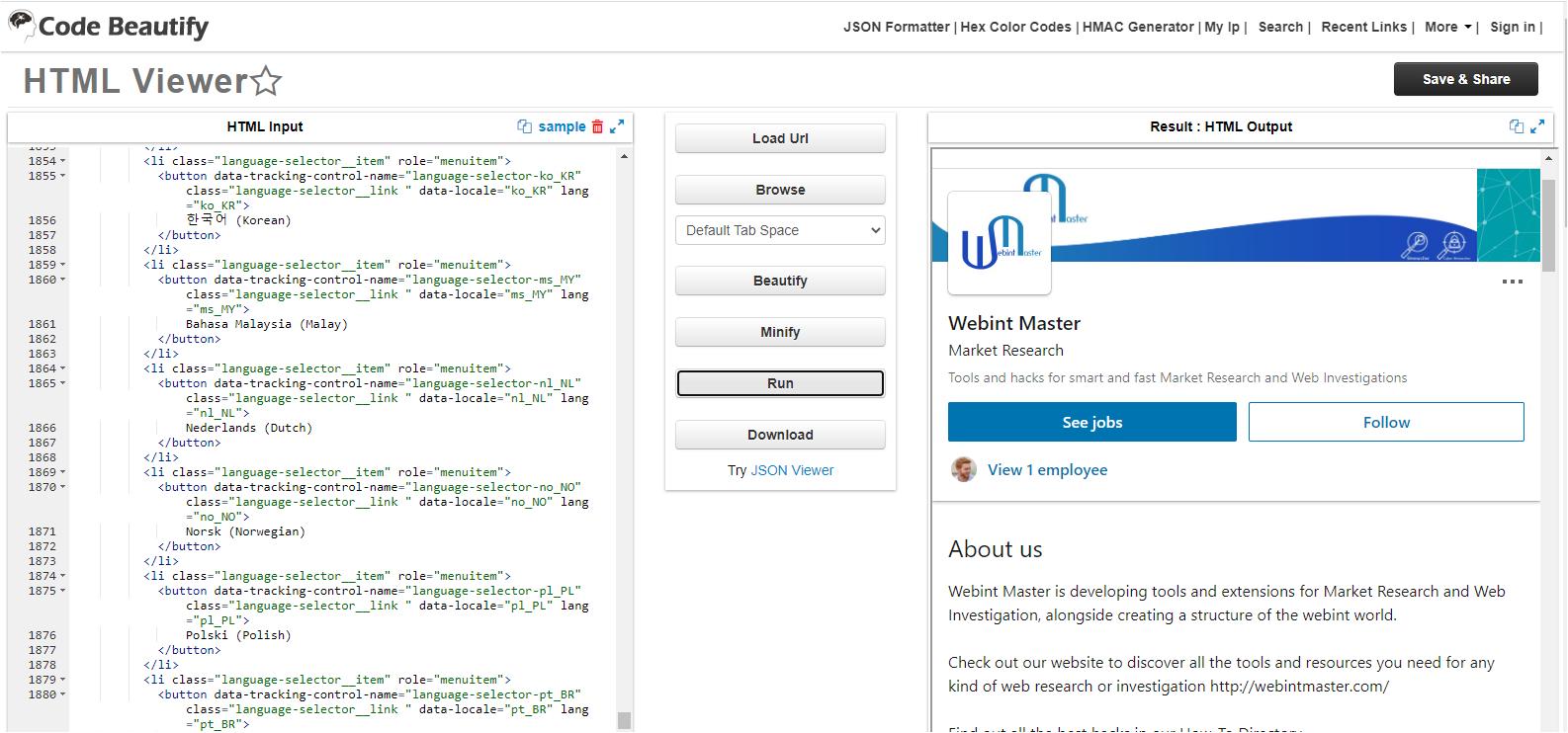 Code Beautify Tool, runs HTML file online