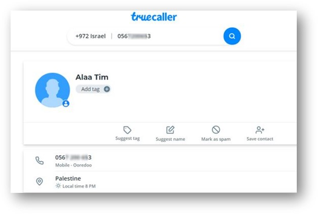 New phone number details from TrueCaller